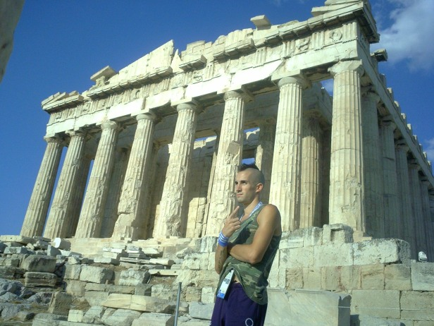 Olympic steeplechaser's self-portrait in Athens in August 2004.