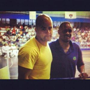 Brin-Jonathan Butler (left) and Cuban boxing champion Felix Savon in 2007.