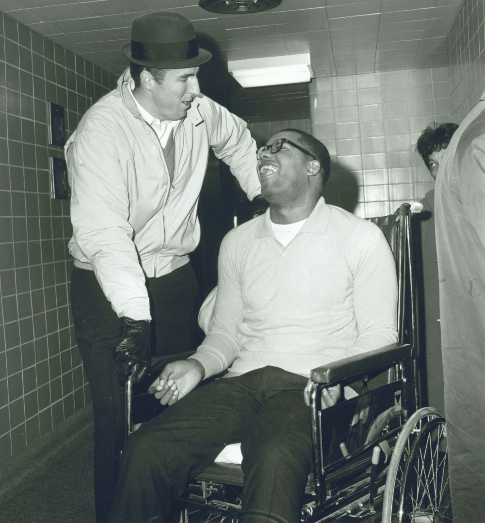 """Jack Twyman (left) and Maurice Stokes. """"I benefited much more from being associated with Maurice than Maurice benefited by being associated with me,"""" said Jack Twyman, who worked tirelessly for more than a decade to raise money for his friend and former teammate's medical bills (Saint Francis University's Maurice Stokes Collection)."""