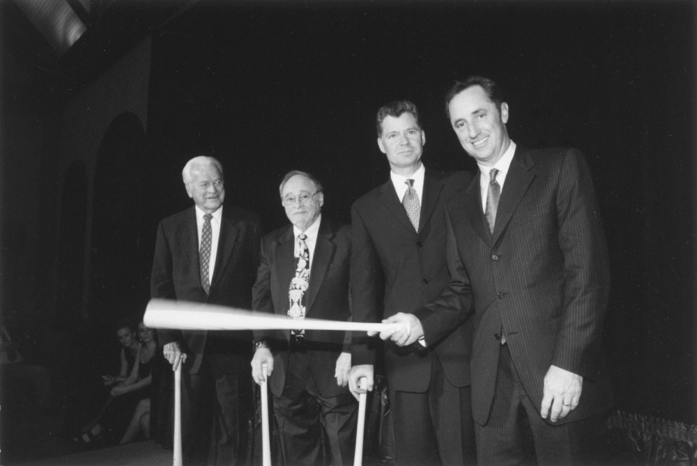 In an undated photo (from left), Jim Simpson, Jerry Izenberg, Dan Patrick and Rick Reilly. NATIONAL SPORTSCASTERS AND SPORTSWRITERS ASSOCIATION & HALL OF FAME