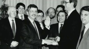 David Stern become NBA commissioner in February 1984, and Terry Lyons (second from left) attends the ceremony.